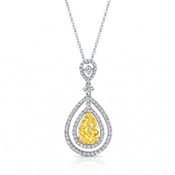 Pear Shape Yellow Diamond with Double Halo