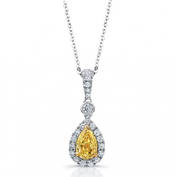 Pear Shape Yellow Diamond with Halo