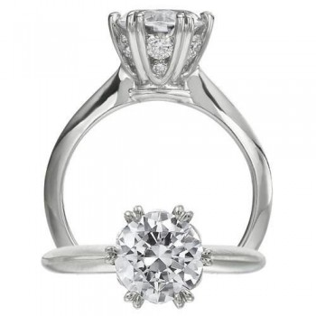 Ritani Diamond Detailed Head Solitaire Engagement Ring Setting