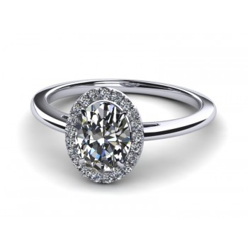 14K White Gold Oval Diamond with Halo .40 carat tw