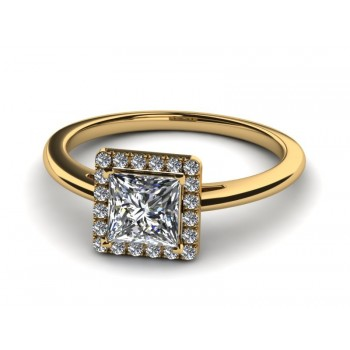 14K Yellow Gold Princess Cut Diamond with Halo .40 carat tw